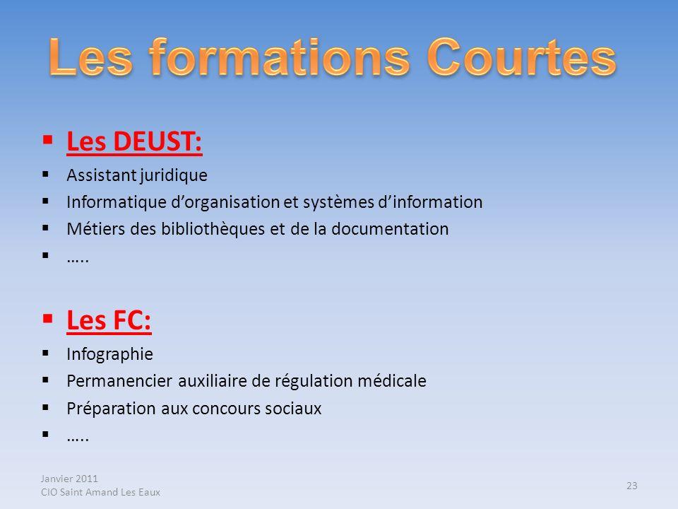 Janvier 2011 CIO Saint Amand Les Eaux Les DEUST: Assistant juridique Informatique dorganisation et systèmes dinformation Métiers des bibliothèques et