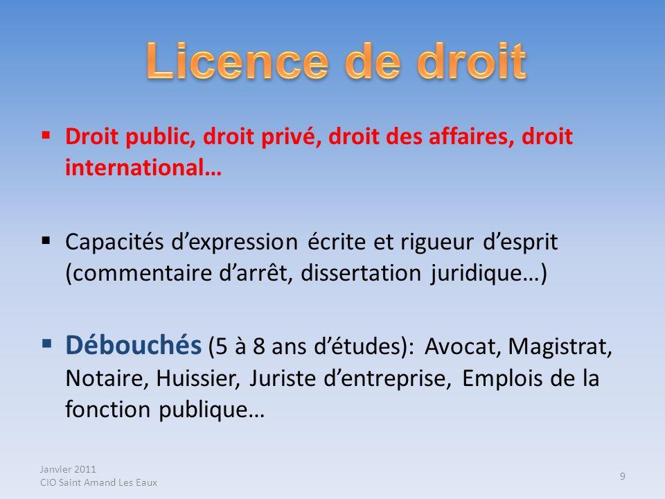 Janvier 2011 CIO Saint Amand Les Eaux Droit public, droit privé, droit des affaires, droit international… Capacités dexpression écrite et rigueur desp