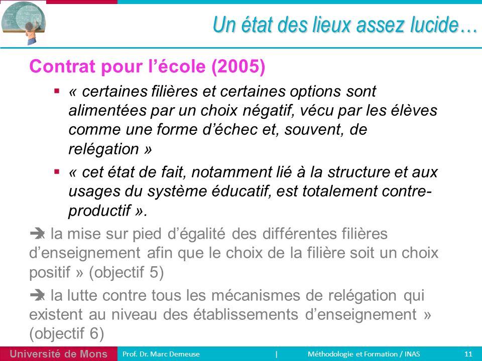 Université de Mons 11 Prof. Dr. Marc Demeuse | Méthodologie et Formation / INAS Un état des lieux assez lucide… Contrat pour lécole (2005) « certaines