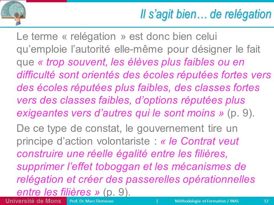 Université de Mons 12 Prof. Dr. Marc Demeuse | Méthodologie et Formation / INAS Il sagit bien… de relégation Le terme « relégation » est donc bien cel