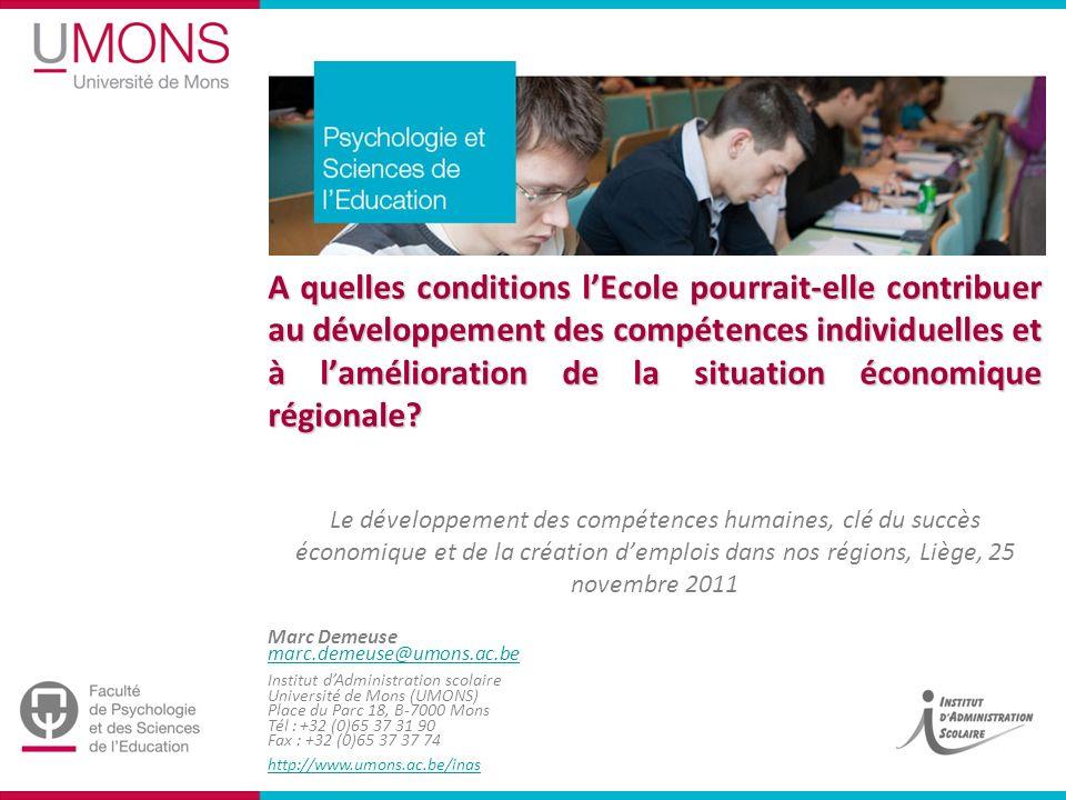 Marc Demeuse marc.demeuse@umons.ac.be Institut dAdministration scolaire Université de Mons (UMONS) Place du Parc 18, B-7000 Mons Tél : +32 (0)65 37 31