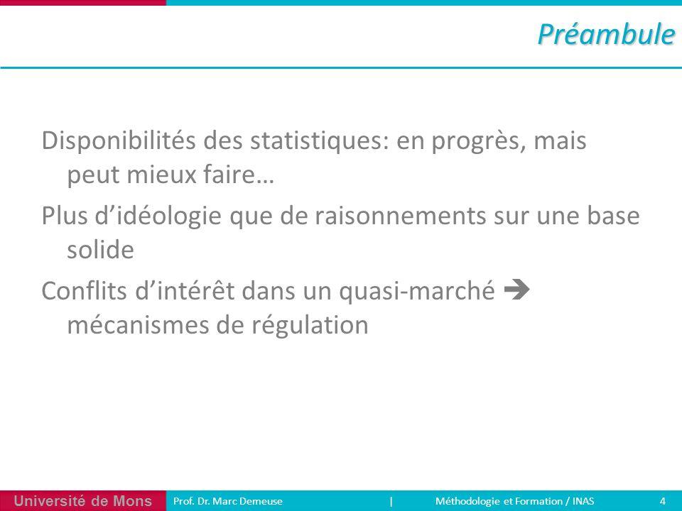 Université de Mons 4 Prof. Dr. Marc Demeuse | Méthodologie et Formation / INASPréambule Disponibilités des statistiques: en progrès, mais peut mieux f