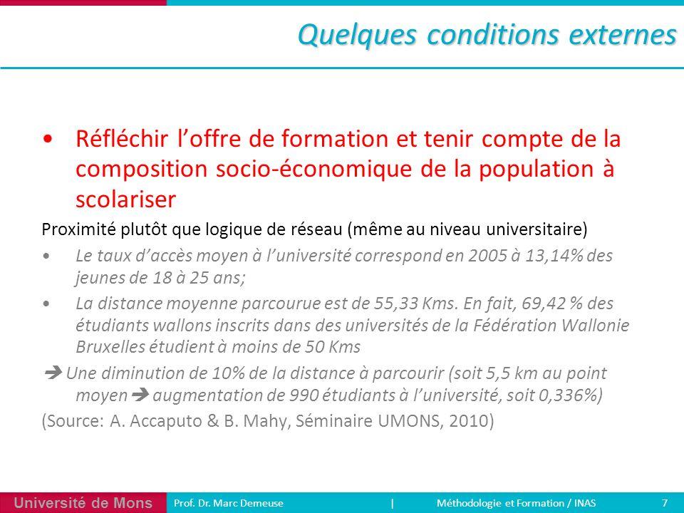 Université de Mons 7 Prof. Dr. Marc Demeuse | Méthodologie et Formation / INAS Quelques conditions externes Réfléchir loffre de formation et tenir com