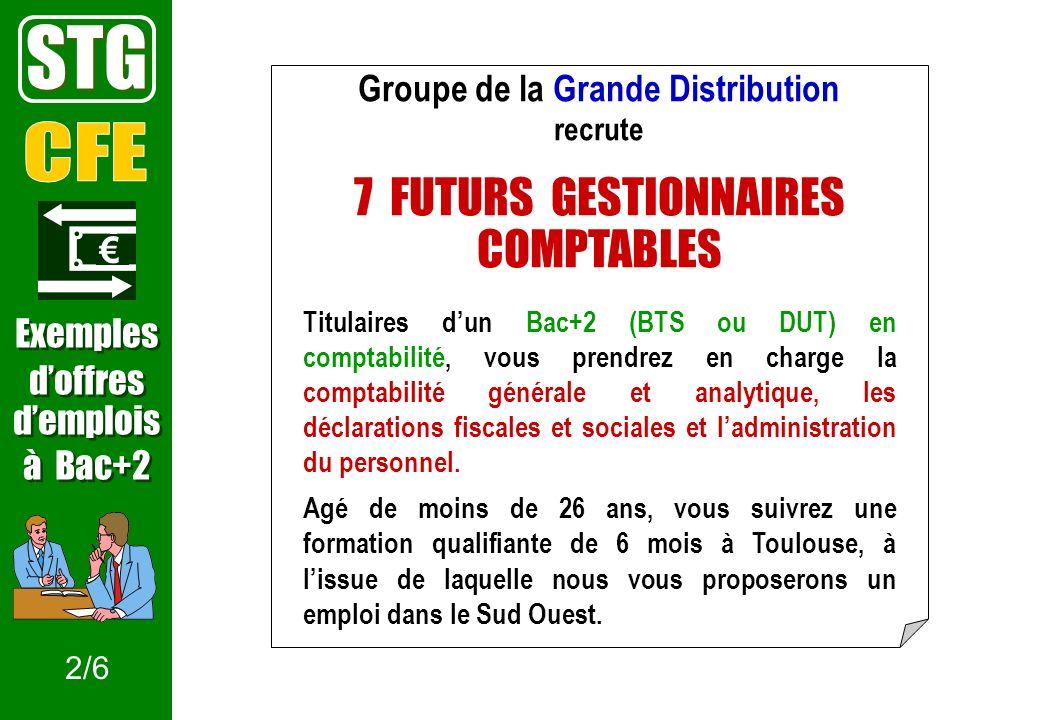 Groupe de la Grande Distribution recrute 7 FUTURS GESTIONNAIRES COMPTABLES Titulaires dun Bac+2 (BTS ou DUT) en comptabilité, vous prendrez en charge la comptabilité générale et analytique, les déclarations fiscales et sociales et ladministration du personnel.
