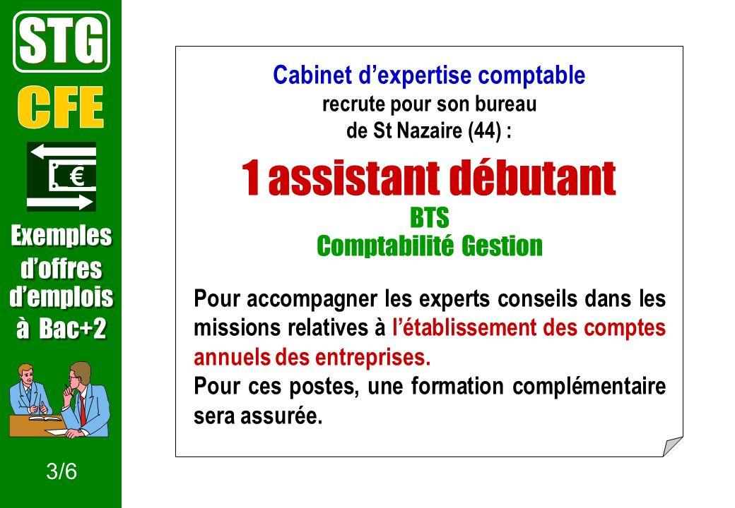 Cabinet dexpertise comptable recrute pour son bureau de St Nazaire (44) : 1 assistant débutant BTS Comptabilité Gestion Pour accompagner les experts conseils dans les missions relatives à létablissement des comptes annuels des entreprises.