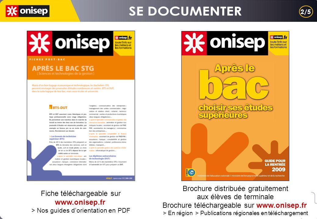 Fiche téléchargeable sur www.onisep.fr > Nos guides dorientation en PDF Brochure distribuée gratuitement aux élèves de terminale Brochure téléchargeable sur www.onisep.fr > En région > Publications régionales en téléchargement 2/5