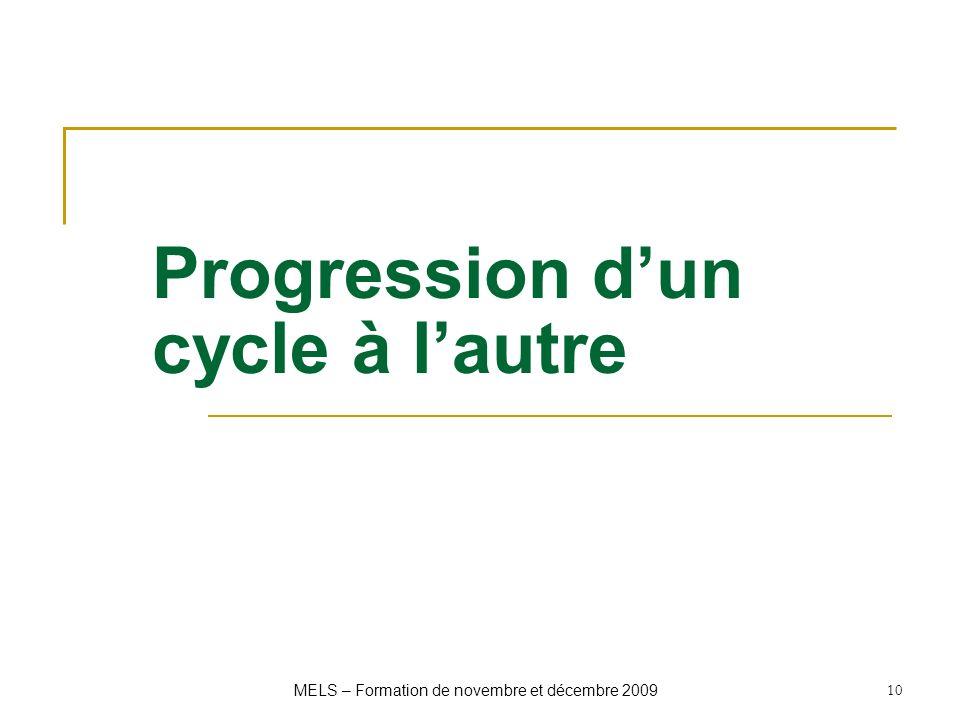 Progression dun cycle à lautre MELS – Formation de novembre et décembre 2009 10