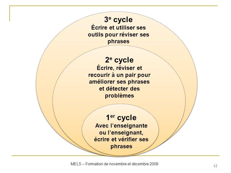 MELS – Formation de novembre et décembre 2009 12 1 er cycle Avec lenseignante ou lenseignant, écrire et vérifier ses phrases 2 e cycle Écrire, réviser
