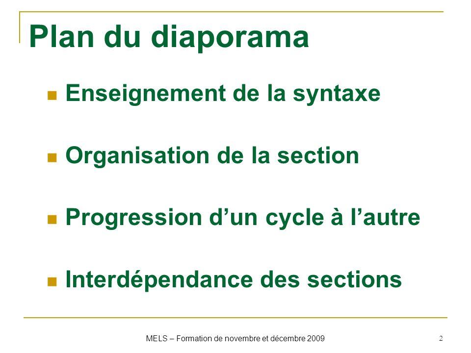 MELS – Formation de novembre et décembre 2009 2 Plan du diaporama Enseignement de la syntaxe Organisation de la section Progression dun cycle à lautre