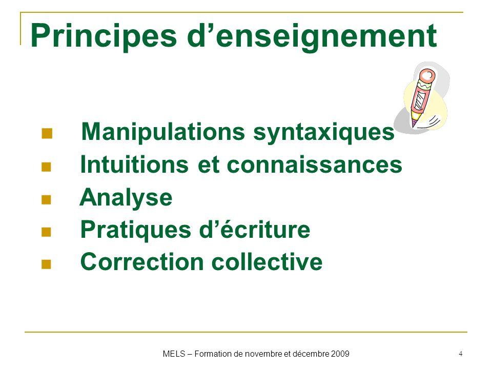 4 Principes denseignement Manipulations syntaxiques Intuitions et connaissances Analyse Pratiques décriture Correction collective