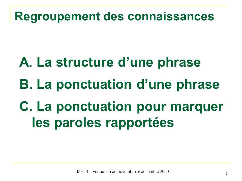 Regroupement des connaissances A. La structure dune phrase B. La ponctuation dune phrase C. La ponctuation pour marquer les paroles rapportées MELS –