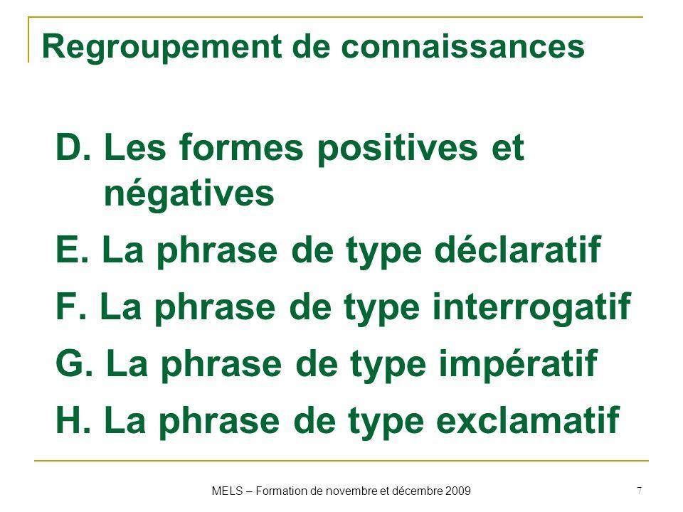 Regroupement de connaissances D. Les formes positives et négatives E. La phrase de type déclaratif F. La phrase de type interrogatif G. La phrase de t