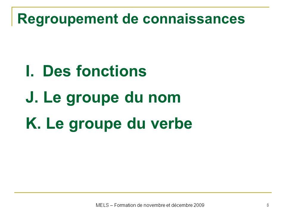 Regroupement de connaissances I.Des fonctions J. Le groupe du nom K. Le groupe du verbe MELS – Formation de novembre et décembre 2009 8
