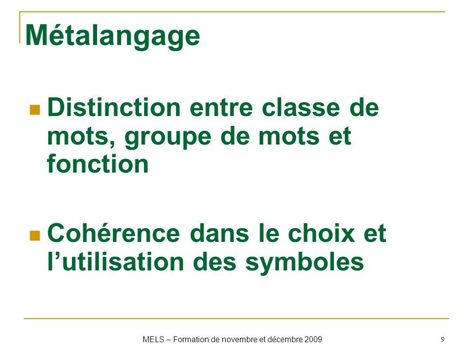 Métalangage Distinction entre classe de mots, groupe de mots et fonction Cohérence dans le choix et lutilisation des symboles 9 MELS – Formation de no
