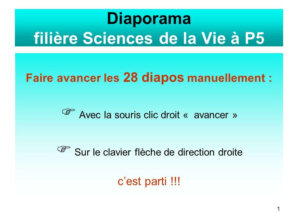 1 Diaporama filière Sciences de la Vie à P5 Faire avancer les 28 diapos manuellement : Avec la souris clic droit « avancer » Sur le clavier flèche de