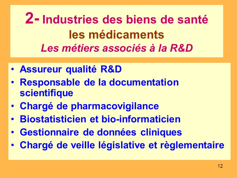 12 2- Industries des biens de santé les médicaments Les métiers associés à la R&D Assureur qualité R&D Responsable de la documentation scientifique Ch