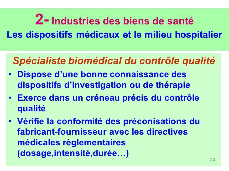 23 2- Industries des biens de santé Les dispositifs médicaux et le milieu hospitalier Spécialiste biomédical du contrôle qualité Dispose dune bonne co