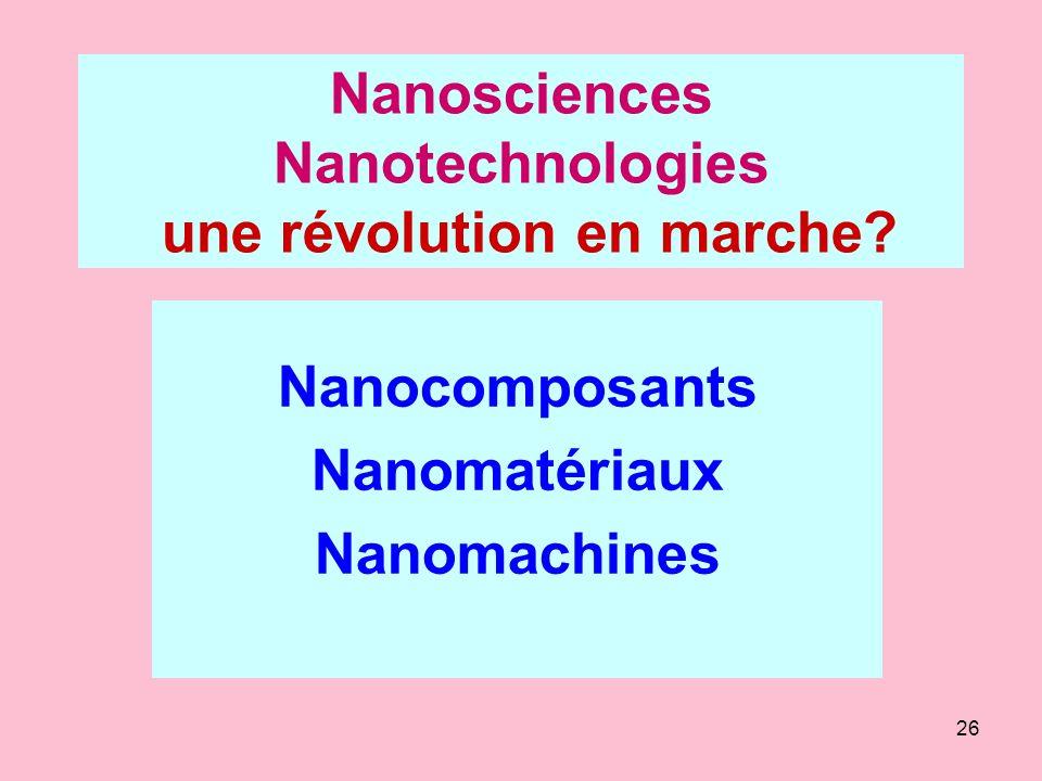 26 Nanosciences Nanotechnologies une révolution en marche? Nanocomposants Nanomatériaux Nanomachines