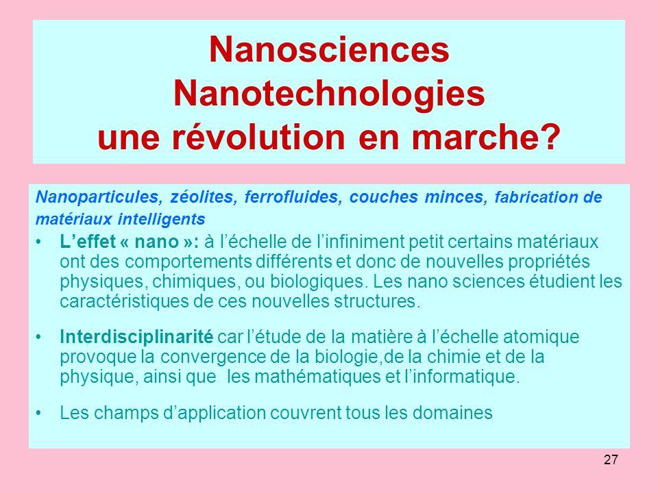27 Nanosciences Nanotechnologies une révolution en marche? Nanoparticules, zéolites, ferrofluides, couches minces, fabrication de matériaux intelligen