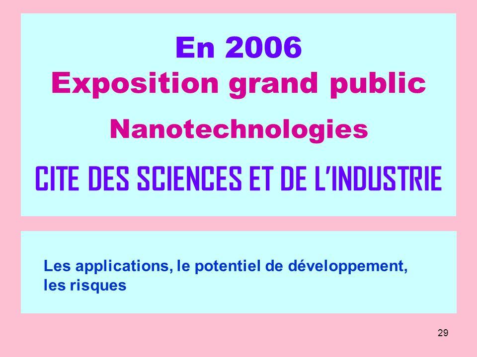 29 En 2006 Exposition grand public Nanotechnologies CITE DES SCIENCES ET DE LINDUSTRIE Les applications, le potentiel de développement, les risques