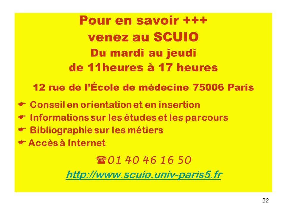 32 Pour en savoir +++ venez au SCUIO Du mardi au jeudi de 11heures à 17 heures 12 rue de lÉcole de médecine 75006 Paris Conseil en orientation et en i
