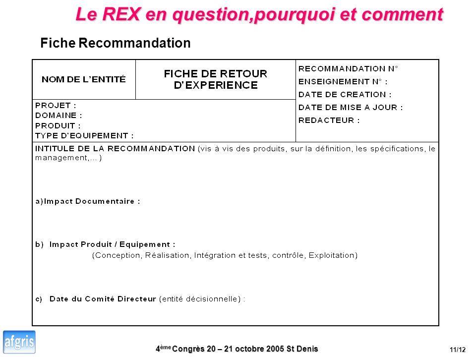 4 ème Congrès 20 – 21 octobre 2005 St Denis Le REX en question,pourquoi et comment Fiche Recommandation 11/12