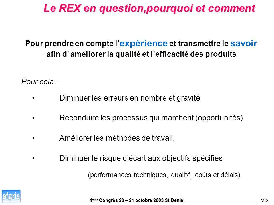 4 ème Congrès 20 – 21 octobre 2005 St Denis Le REX en question,pourquoi et comment Diminuer le risque décart aux objectifs spécifiés Pour prendre en c