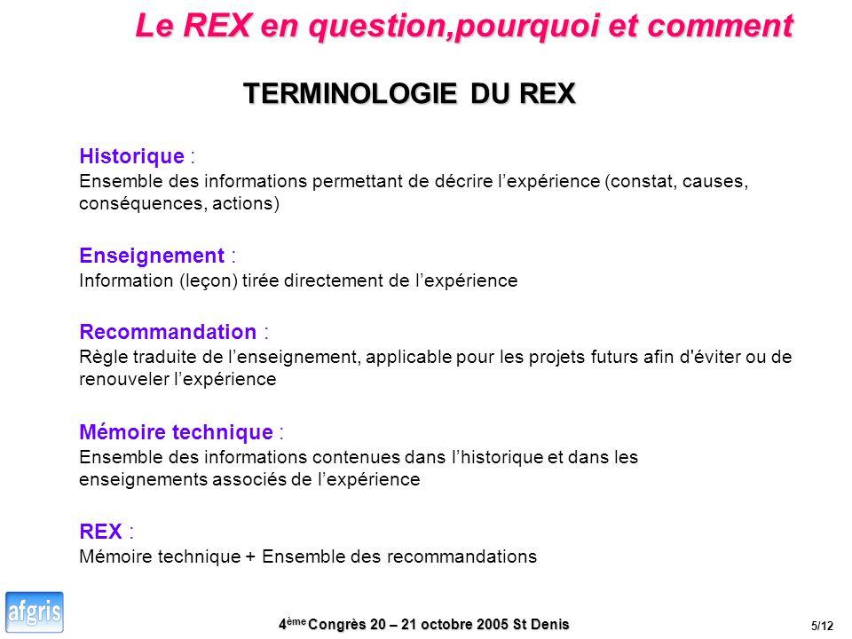 4 ème Congrès 20 – 21 octobre 2005 St Denis TERMINOLOGIE DU REX Enseignement : Information (leçon) tirée directement de lexpérience Recommandation : R