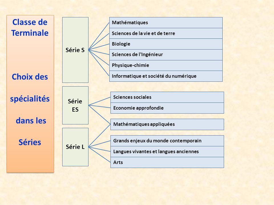 Série S Série ES Série L Sciences de la vie et de terre Physique-chimie Mathématiques Informatique et société du numérique Sciences sociales Economie