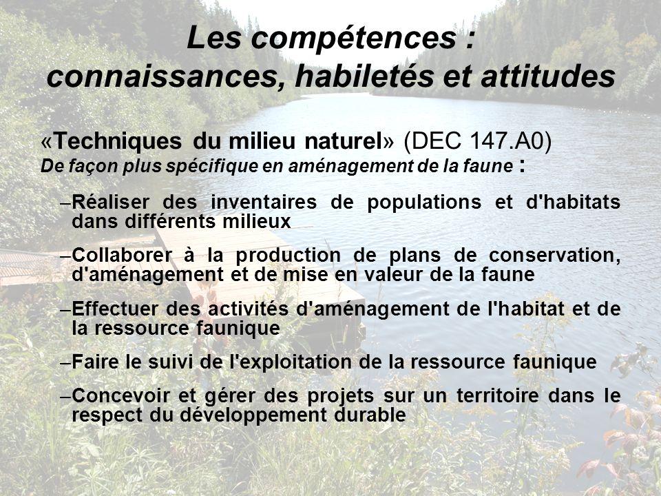 «Techniques du milieu naturel» (DEC 147.A0) De façon plus spécifique en aménagement de la faune : –Réaliser des inventaires de populations et d'habita