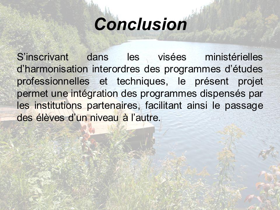 Conclusion Sinscrivant dans les visées ministérielles dharmonisation interordres des programmes détudes professionnelles et techniques, le présent pro