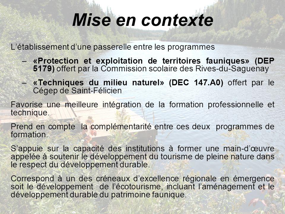 Mise en contexte Létablissement dune passerelle entre les programmes –«Protection et exploitation de territoires fauniques» (DEP 5179) offert par la C