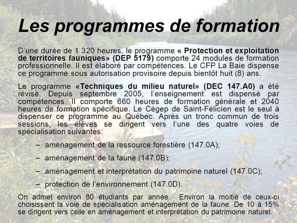 Les programmes de formation Dune durée de 1 320 heures, le programme « Protection et exploitation de territoires fauniques» (DEP 5179) comporte 24 mod