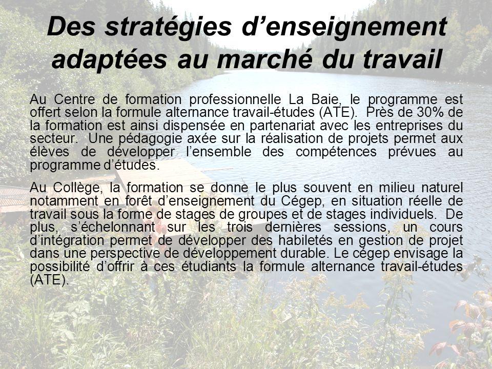 Des stratégies denseignement adaptées au marché du travail Au Centre de formation professionnelle La Baie, le programme est offert selon la formule al