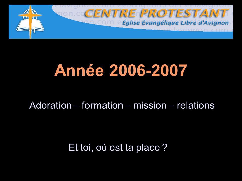 Année 2006-2007 Et toi, où est ta place ? Adoration – formation – mission – relations