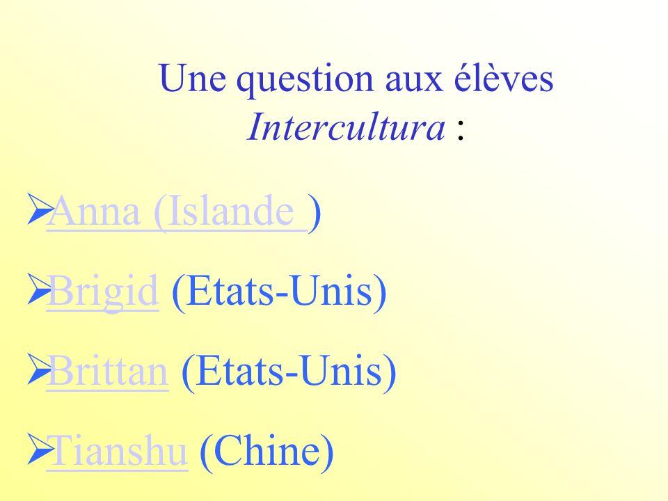 Une question aux élèves Intercultura : Anna (Islande ) Anna (Islande Brigid (Etats-Unis) Brigid Brittan (Etats-Unis) Brittan Tianshu (Chine) Tianshu