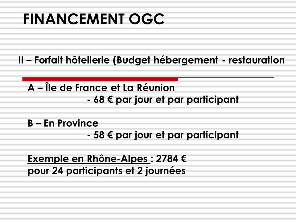 FINANCEMENT OGC pour la FPC A - ORGANISME NATIONAL - 375 par jour et par participant B – ORGANISME REGIONAL - 295 par jour et par participant Exemple en Rhône-Alpes : 14 160 pour 24 participants et 2 journées I – Forfait pédagogique