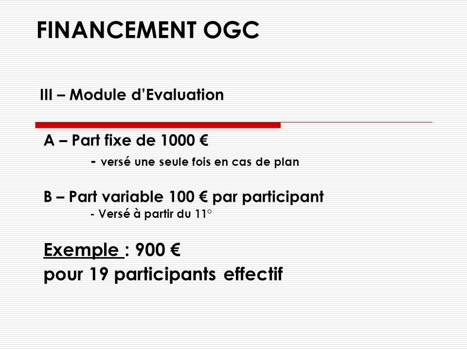 FINANCEMENT OGC A – Île de France et La Réunion - 68 par jour et par participant B – En Province - 58 par jour et par participant Exemple en Rhône-Alp