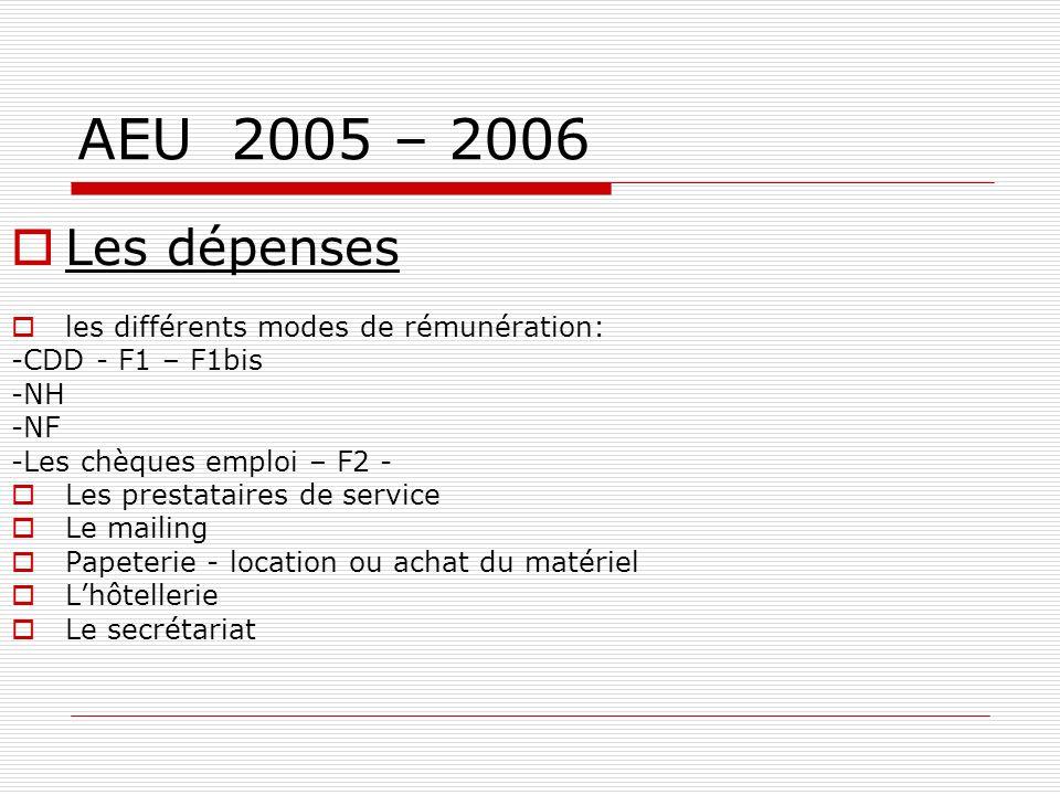 AEU 2005 – 2006 Les apports : - OGC -URML -FAF -FAQSV (exemple fichier numérique) -ASSOCIATIONS: cotisations, sous traitance -REGION -PRESSE -ENTREPRI