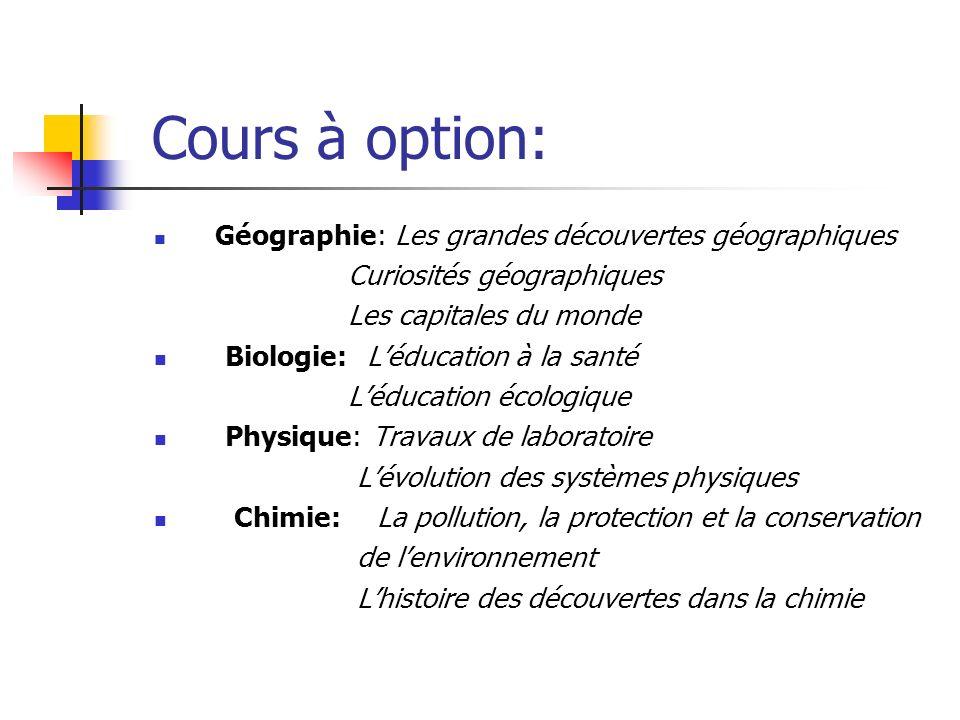Cours à option: G éographie: Les grandes découvertes géographiques Curiosités géographiques Les capitales du monde Biologie: Léducation à la santé Léd