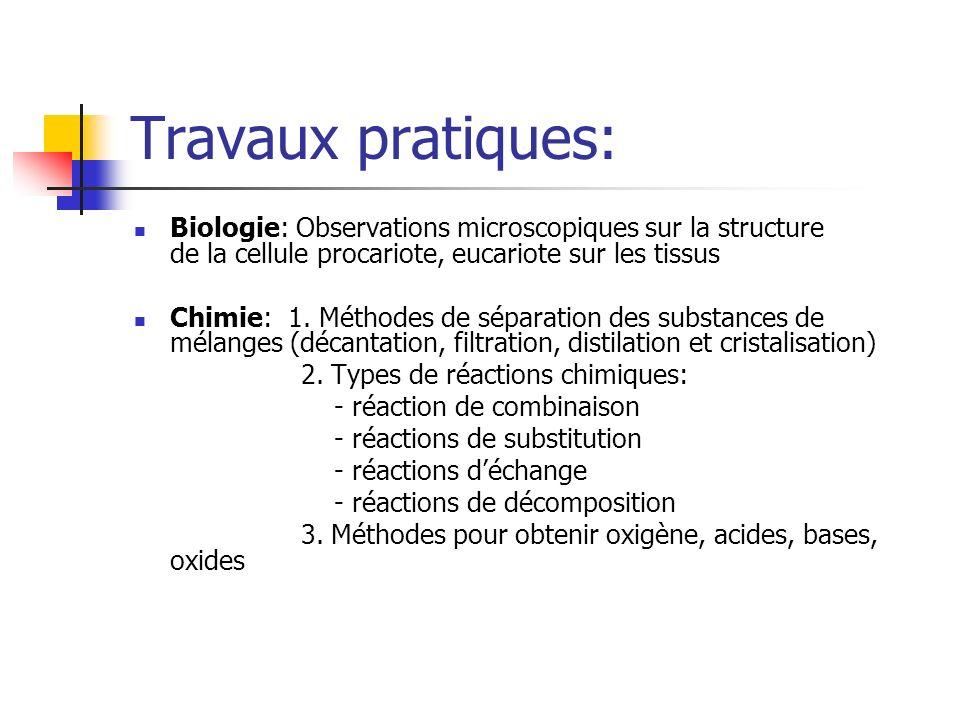 Travaux pratiques: Biologie: Observations microscopiques sur la structure de la cellule procariote, eucariote sur les tissus Chimie: 1.
