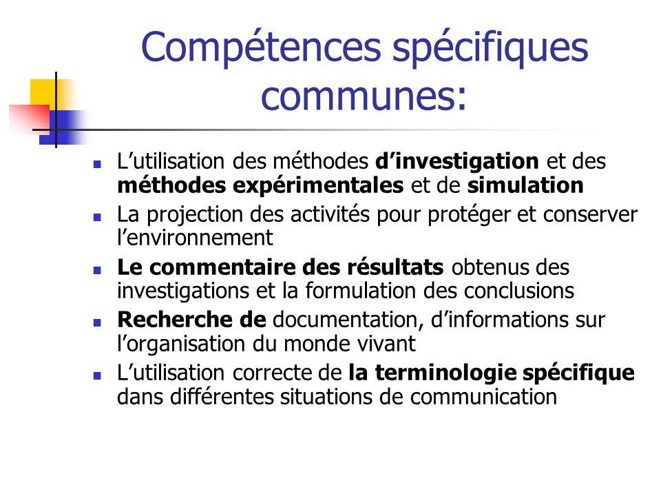 Compétences spécifiques communes: Lutilisation des méthodes dinvestigation et des méthodes expérimentales et de simulation La projection des activités