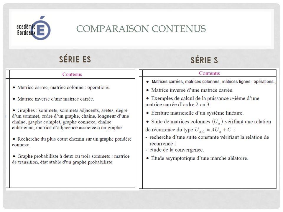 COMPARAISON CONTENUS SÉRIE ES SÉRIE S