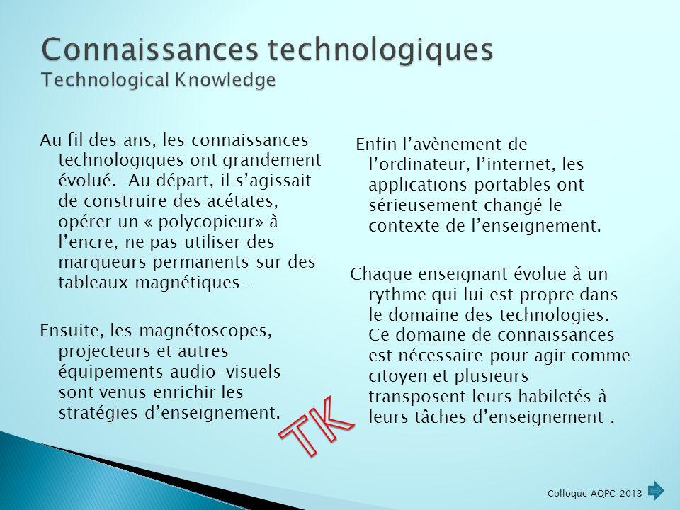 Au fil des ans, les connaissances technologiques ont grandement évolué.