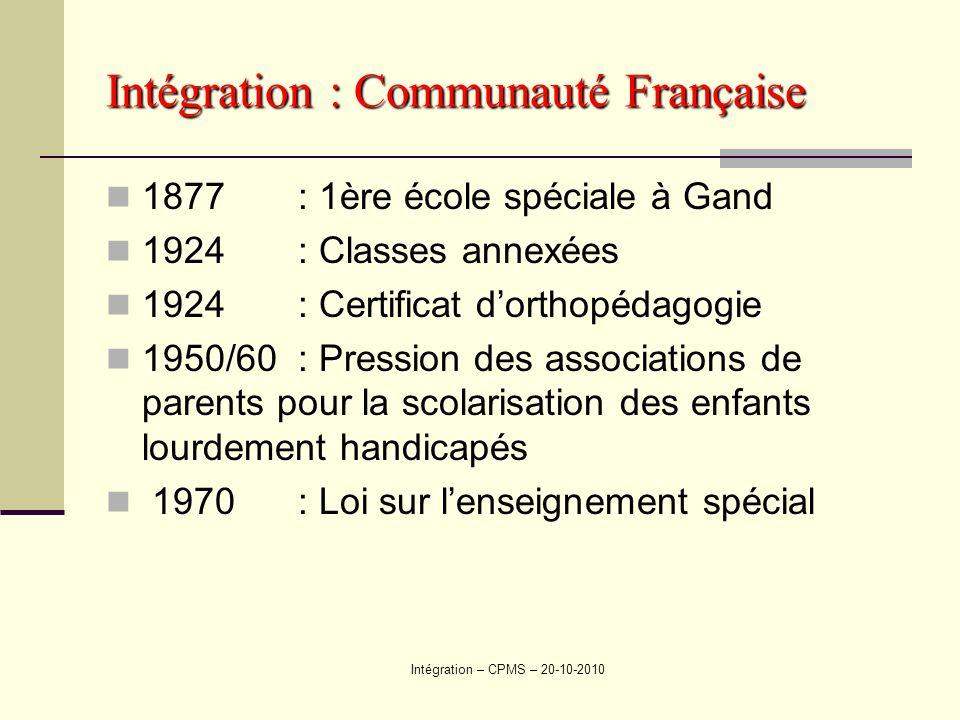 Intégration : Communauté Française 1877: 1ère école spéciale à Gand 1924: Classes annexées 1924: Certificat dorthopédagogie 1950/60: Pression des asso