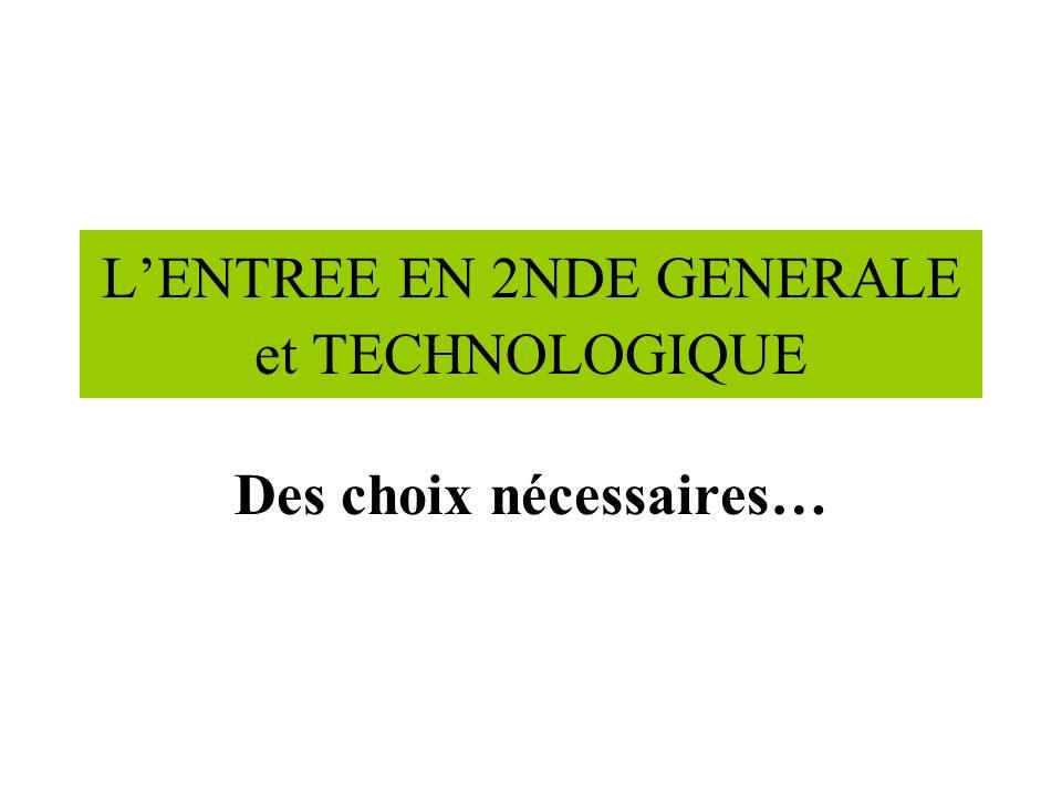 LENTREE EN 2NDE GENERALE et TECHNOLOGIQUE Des choix nécessaires…