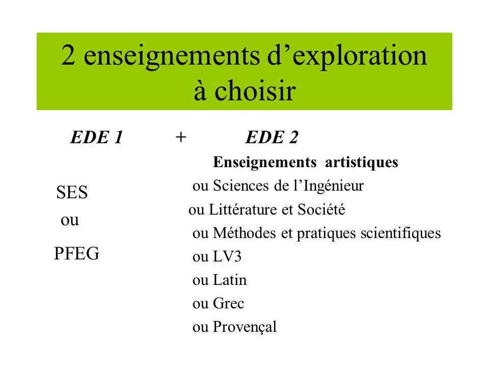 2 enseignements dexploration à choisir EDE 1 + SES ou PFEG EDE 2 Enseignements artistiques ou Sciences de lIngénieur ou Littérature et Société ou Méthodes et pratiques scientifiques ou LV3 ou Latin ou Grec ou Provençal