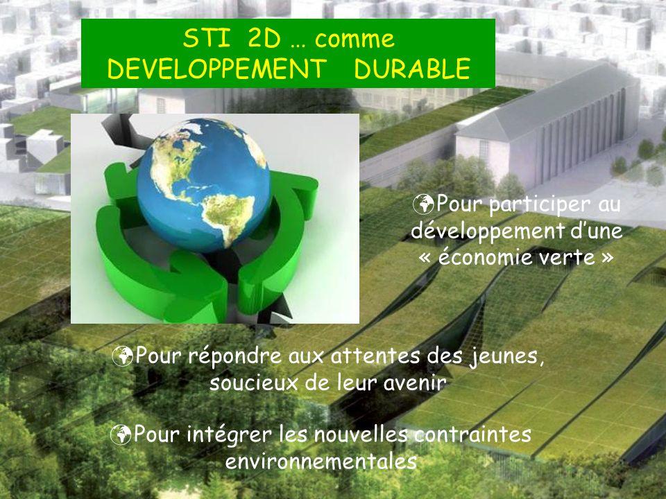 STI 2D … comme DEVELOPPEMENT DURABLE Pour participer au développement dune « économie verte » Pour répondre aux attentes des jeunes, soucieux de leur