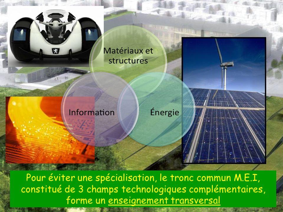 Pour éviter une spécialisation, le tronc commun M.E.I, constitué de 3 champs technologiques complémentaires, forme un enseignement transversal
