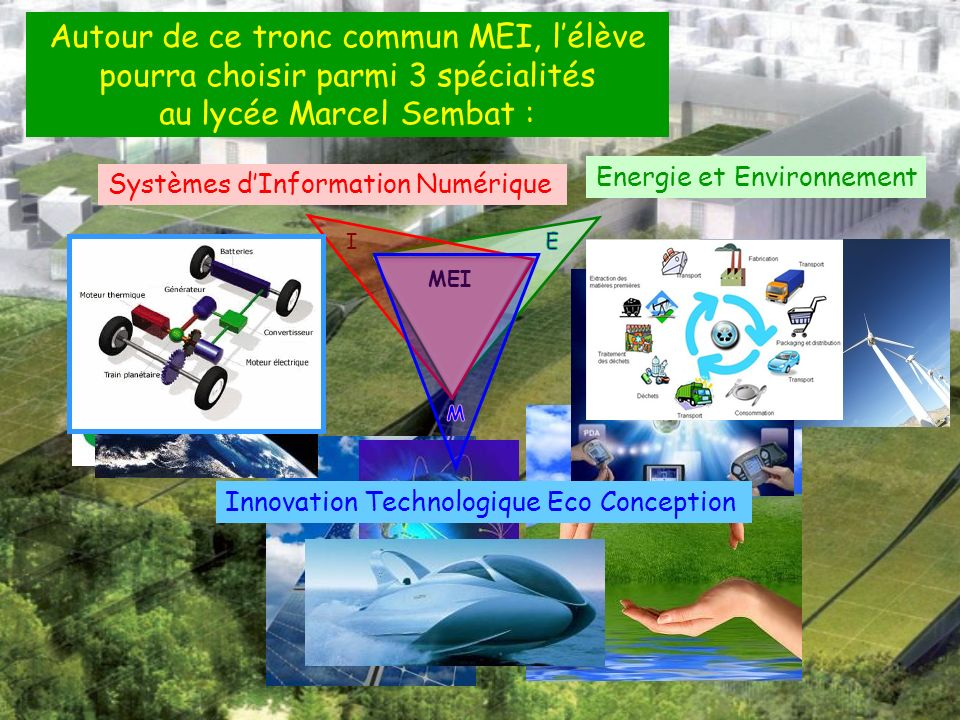 Autour de ce tronc commun MEI, lélève pourra choisir parmi 3 spécialités au lycée Marcel Sembat : Energie et Environnement MEI Systèmes dInformation Numérique I Innovation Technologique Eco Conception